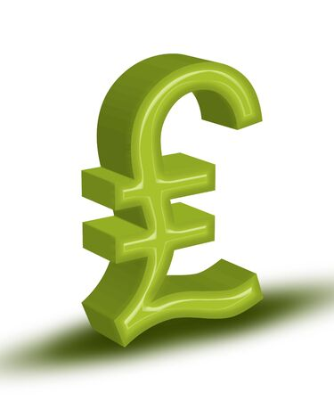 High resolution render of green 3D Pound symbol  Stock Photo