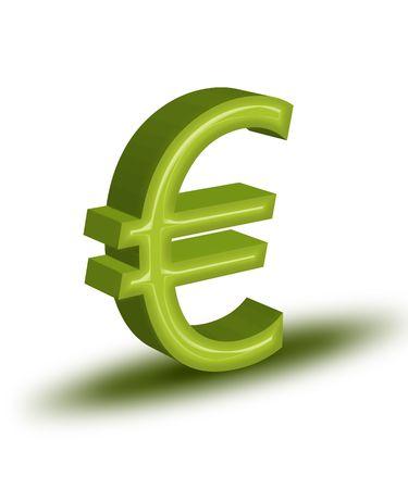 High resolution render of green 3D Euro symbol