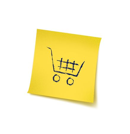 Post it with Shopping Cart & brushes details  Stock Photo