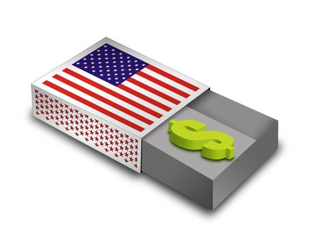 3d Render Matchbox with USA - Flag