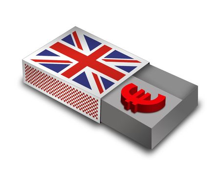 3d Render Matchbox with UK - Flag Stock Photo