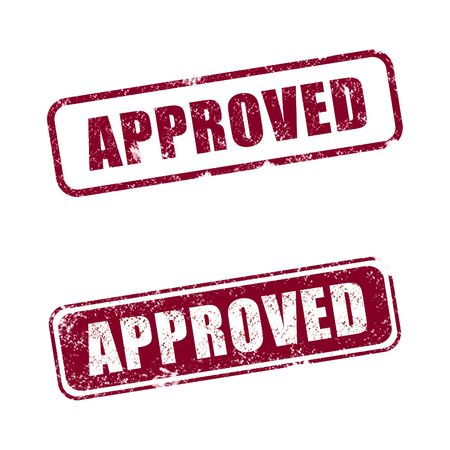 An Approved rubber stamp with white background  Stock Photo