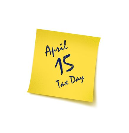Tax Day with reminding concept – Post it  Stock Photo