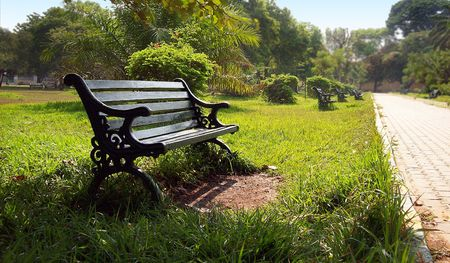 A lone park bench in a botanical garden park Stock Photo