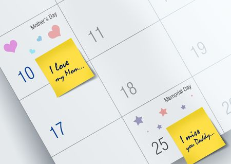 May month calendar with mother�s day & Memorial Day feelings  Stock Photo