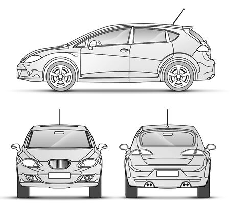 car front: Car with outline, front, Back, Side view