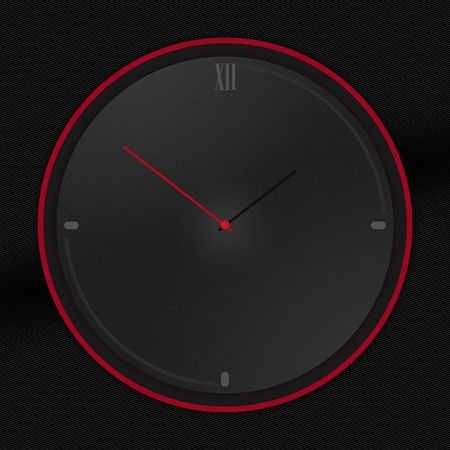 Rounded Black clock isolated on Black background