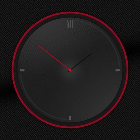 Rounded Black clock isolated on Black background