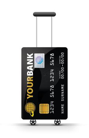 reiseb�ro: Online-Ticket-Buchung Konzept - (Reisetasche mit Kreditkarte)