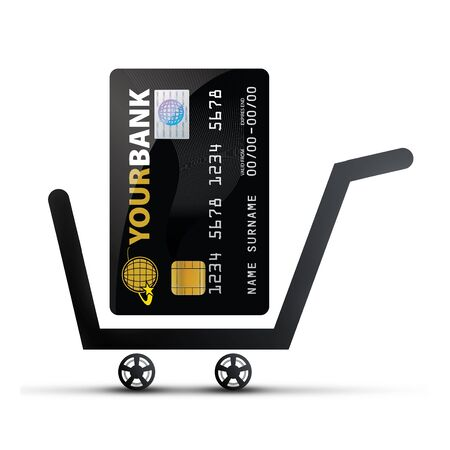 Online Shopping Concept - (Shopping Cart with Credit Card) photo