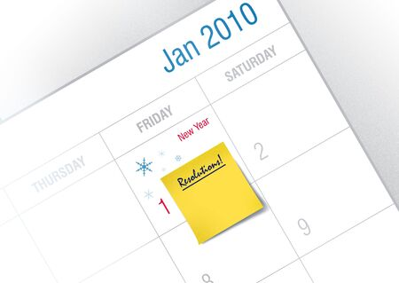 Post it Ready for New Year�s Resolution  Stock Photo