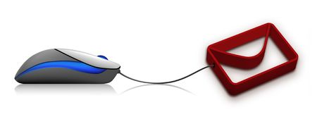 A 3d illustration of an E-mail icon with computer mouse