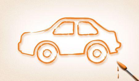 dream car: Pinceles de contorno, dise�o de coches. (Sue�o coche concept)  Foto de archivo