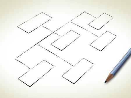organigrama: Organigrama en blanco  Foto de archivo