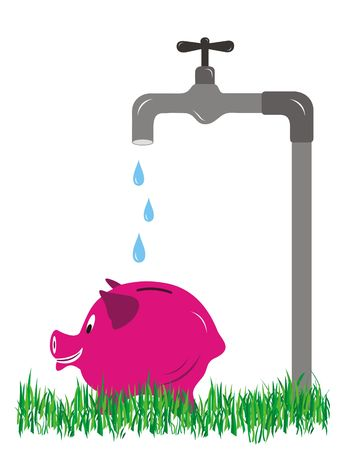 Save Water with Piggy banking & white Backdrop Stock Photo - 6673613