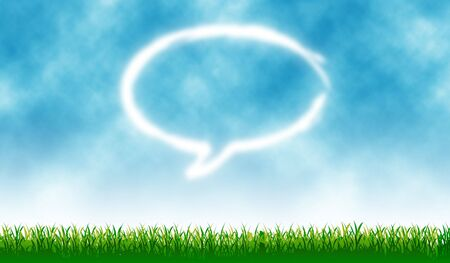 Chat icon with outdoor cloud - background