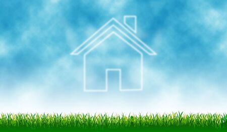 Home icon with outdoor cloud - background