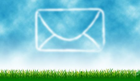 Mail icon with outdoor cloud - background