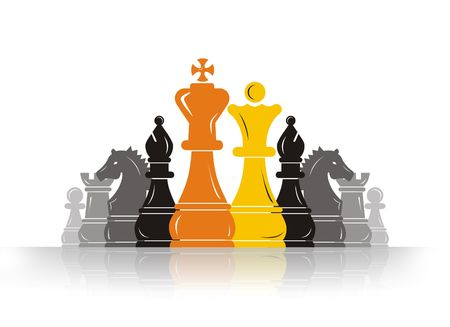 david and goliath: Chess Pawn Leader Stock Photo