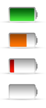 Battery (different charge) on white