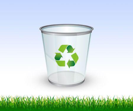 Go Green theme - Glass Recycling bin Stock Photo
