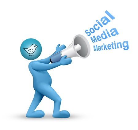 Social Media Network, Concept with 3d man Stock Photo