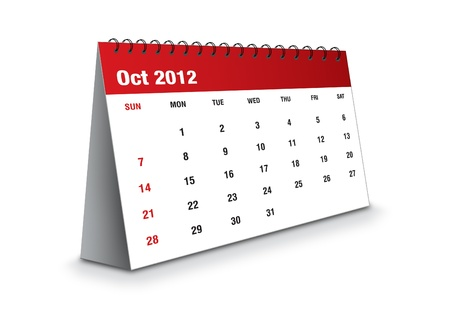 October 2012 - Calendar series Stock Photo - 11081044