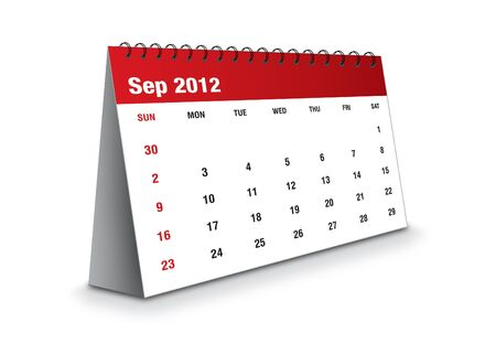 September 2012 - Calendar series Stock Photo - 11081047