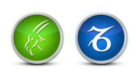 signes du zodiaque: Symbole de zodiaque capricorne avec un fond blanc Banque d'images