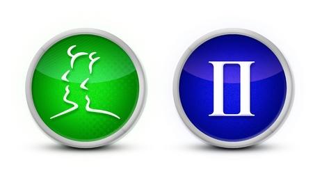 signes du zodiaque: Symbole de zodiaque Gemini avec un fond blanc Banque d'images
