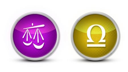 signes du zodiaque: Symbole astrologique Balance avec un fond blanc