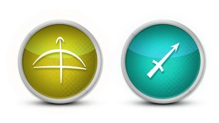 signes du zodiaque: Symbole Zodiac Sagittaire avec un fond blanc Banque d'images