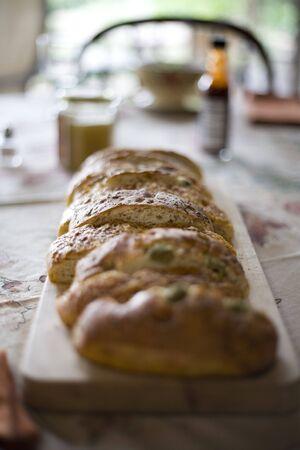 Bread loaf on dinner table