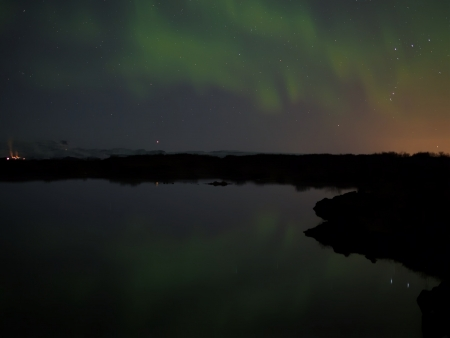 geomagnetic: Aurora with his reflection Stock Photo