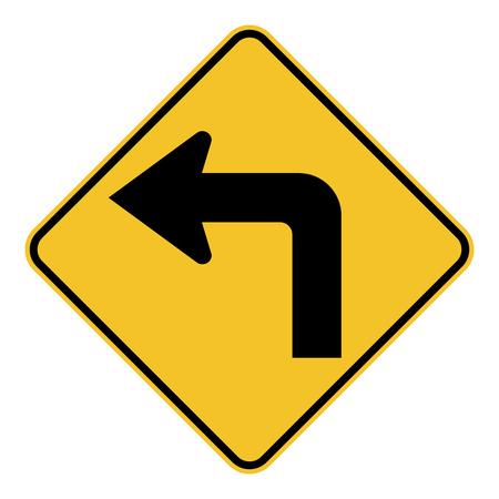 Left turn ahead traffic sign Ilustração Vetorial
