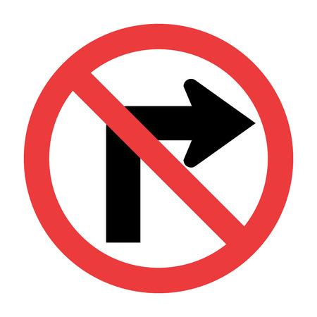 Ne pas tourner à droite panneau de signalisation Vecteurs