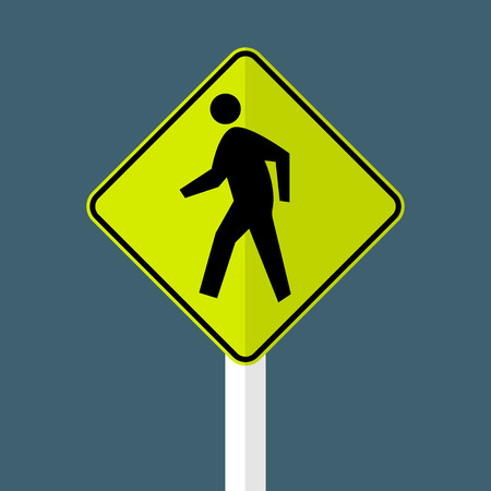 Pedestrian Crossing Sign on white background Ilustracja