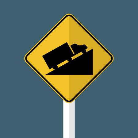 Steep Hill Ascent Signs vector Ilustração Vetorial