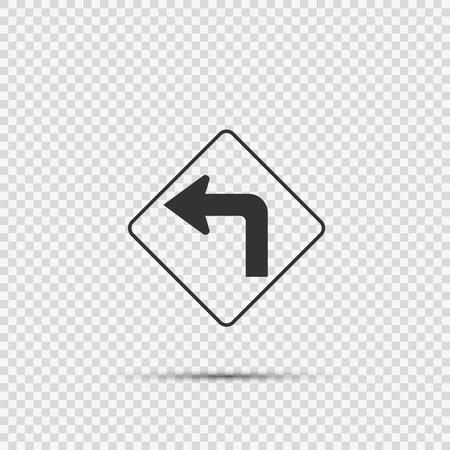 Left turn ahead traffic sign on transparent background