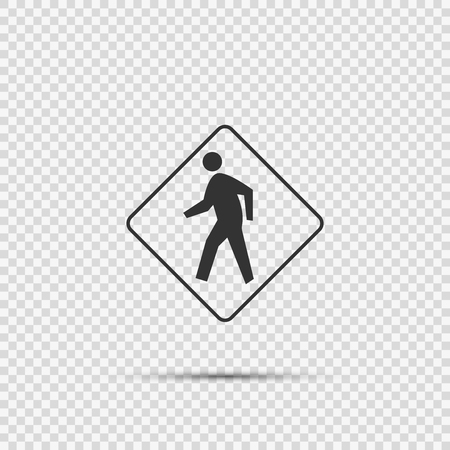Pedestrian Crossing Sign on transparent background