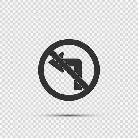 Do not turn left traffic sign on transparent background