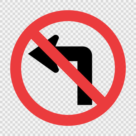 Do not turn left traffic sign on transparent background Stock Illustratie