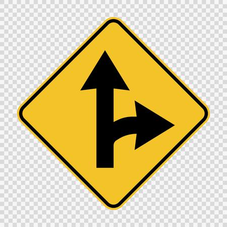 Segnale di divisione svolta a destra su sfondo trasparente