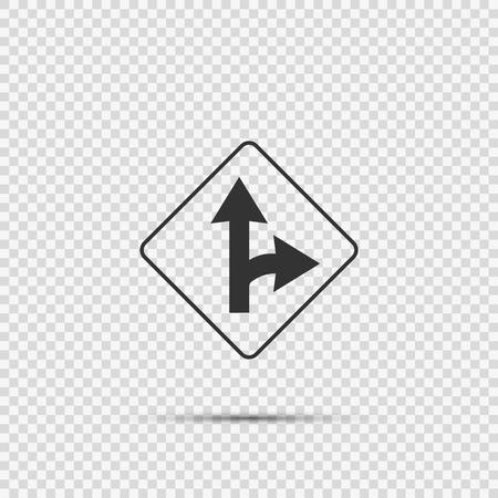 Right turn split sign on transparent background 向量圖像