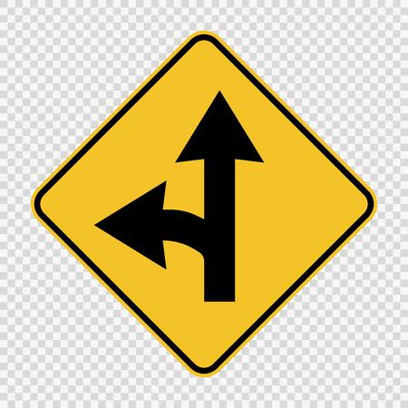 Left turn split sign on transparent background