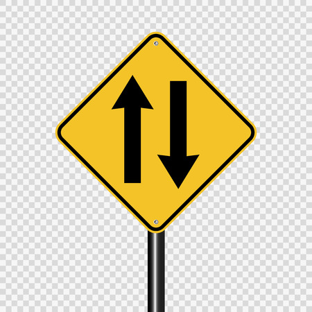 Two way traffic ahead sign on transparent background Illustration