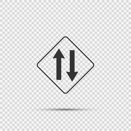 Two way traffic ahead sign on transparent background Vektorové ilustrace