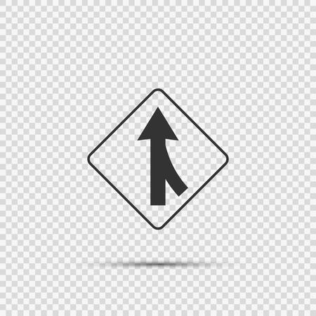 Voies fusionnant bon signe sur fond transparent Vecteurs