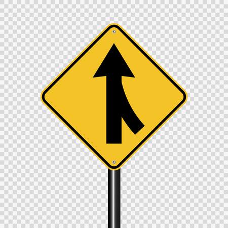 Fahrspuren verschmelzen rechtes Zeichen auf transparentem Hintergrund