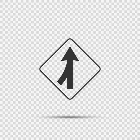 Lanes merging left sign on transparent background